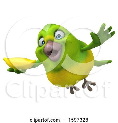 Clipart of a 3d Green Bird Holding a Banana, on a White Background - Royalty Free Illustration by Julos