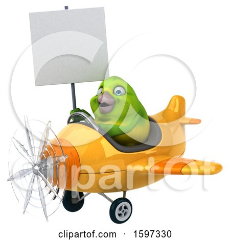 Clipart of a 3d Green Bird Flying a Plane, on a White Background - Royalty Free Illustration by Julos