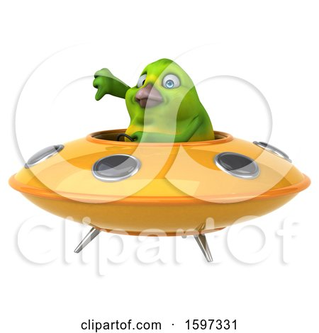 Clipart of a 3d Green Bird Flying a Ufo, on a White Background - Royalty Free Illustration by Julos