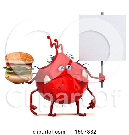 Clipart of a 3d Red Germ Monster Holding a Burger, on a White Background - Royalty Free Illustration by Julos