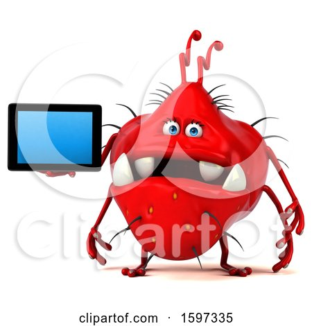 Clipart of a 3d Red Germ Monster Holding a Tablet, on a White Background - Royalty Free Illustration by Julos
