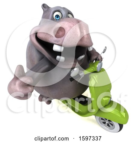 Clipart of a 3d Hippo Riding a Scooter, on a White Background - Royalty Free Illustration by Julos