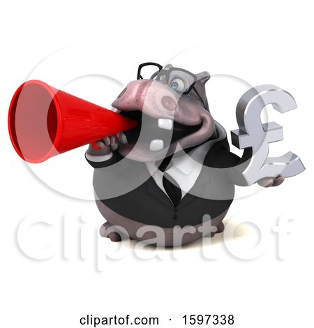 Clipart of a 3d Business Hippo Holding a Pound Currency Symbol, on a White Background - Royalty Free Illustration by Julos