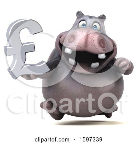 Clipart of a 3d Hippo Holding a Pound Currency Symbol, on a White Background - Royalty Free Illustration by Julos