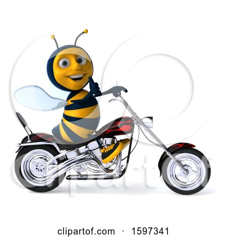 Clipart of a 3d Male Bee Biker Riding a Chopper Motorcycle, on a White Background - Royalty Free Illustration by Julos