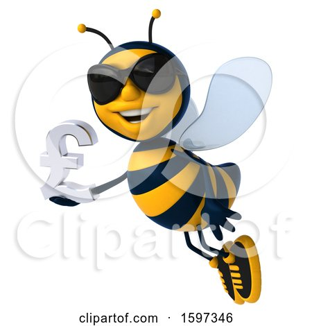 Clipart of a 3d Male Bee Holding a Pound Currency Symbol, on a White Background - Royalty Free Illustration by Julos