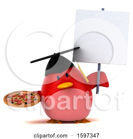 Clipart of a 3d Red Bird Graduate Holding a Pizza, on a White Background - Royalty Free Illustration by Julos