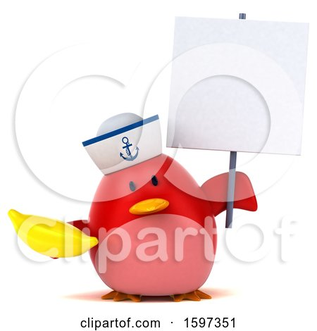 Clipart of a 3d Chubby Red Bird Sailor Holding a Banana, on a White Background - Royalty Free Illustration by Julos