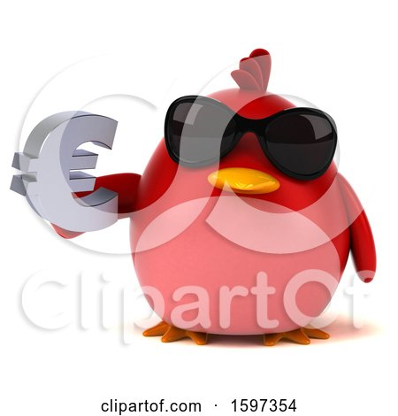 Clipart of a 3d Red Bird Holding a Euro, on a White Background - Royalty Free Illustration by Julos