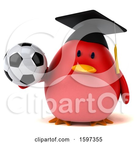 Clipart of a 3d Red Bird Graduate Holding a Soccer Ball, on a White Background - Royalty Free Illustration by Julos