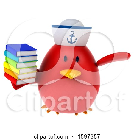 Clipart of a 3d Chubby Red Bird Sailor Holding Books, on a White Background - Royalty Free Illustration by Julos