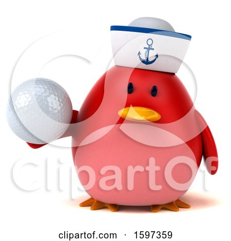 Clipart of a 3d Chubby Red Bird Sailor Holding a Golf Ball, on a White Background - Royalty Free Illustration by Julos