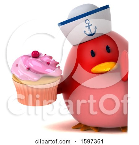 Clipart of a 3d Chubby Red Bird Sailor Holding a Cupcake, on a White Background - Royalty Free Illustration by Julos