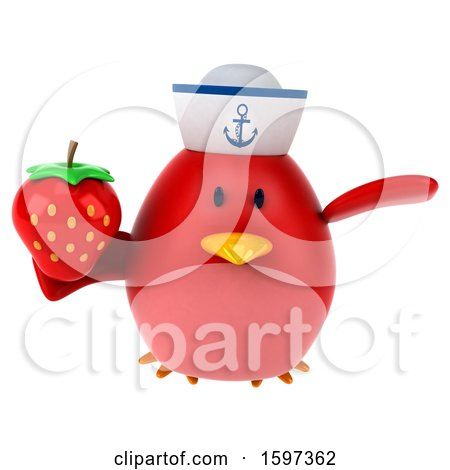 Clipart of a 3d Chubby Red Bird Sailor Holding a Strawberry, on a White Background - Royalty Free Illustration by Julos