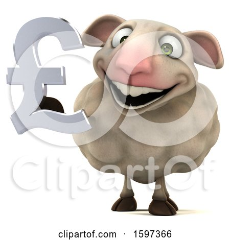 Clipart of a 3d Sheep Holding a Pound Currency Symbol, on a White Background - Royalty Free Illustration by Julos