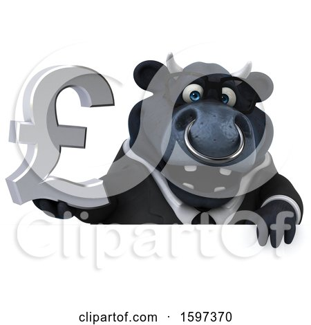 Clipart of a 3d Black Business Bull Holding a Pound Currency Symbol, on a White Background - Royalty Free Illustration by Julos