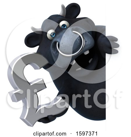 Clipart of a 3d Black Bull Holding a Pound Currency Symbol, on a White Background - Royalty Free Illustration by Julos