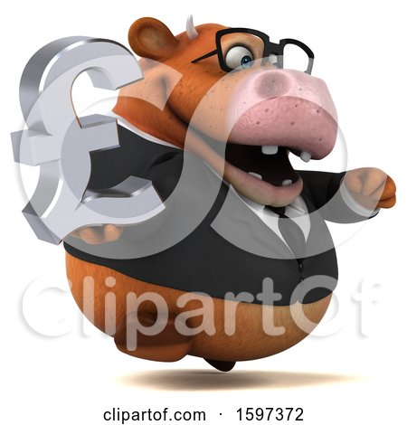 Clipart of a 3d Brown Business Cow Holding a Pound Currency Symbol, on a White Background - Royalty Free Illustration by Julos