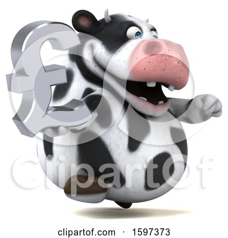 Clipart of a 3d Holstein Cow Holding a Pound Currency Symbol, on a White Background - Royalty Free Illustration by Julos