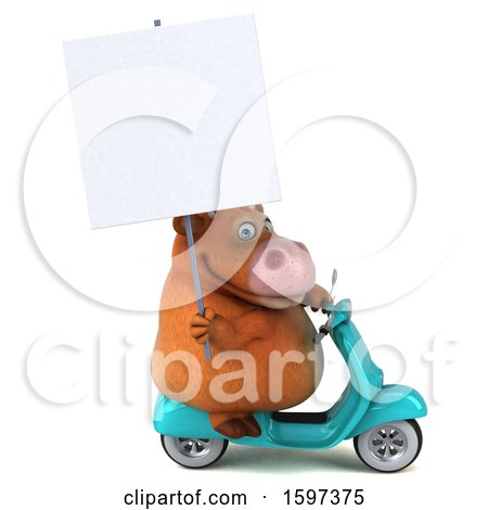 Clipart of a 3d Brown Cow Riding a Scooter, on a White Background - Royalty Free Illustration by Julos