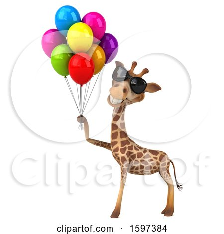 Clipart of a 3d Happy Giraffe Holding Party Balloons, on a White Background - Royalty Free Illustration by Julos