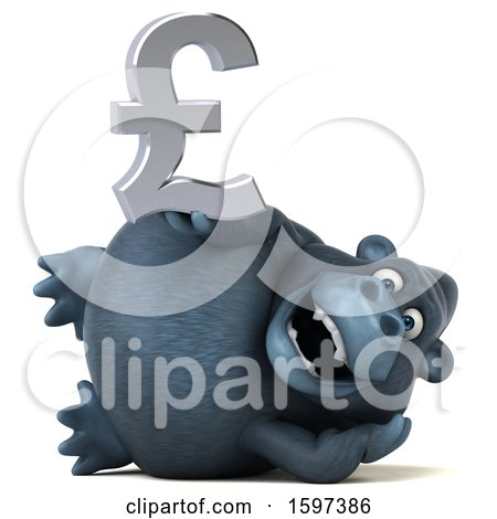 Clipart of a 3d Gorilla Holding a Pound Currency Symbol, on a White Background - Royalty Free Illustration by Julos