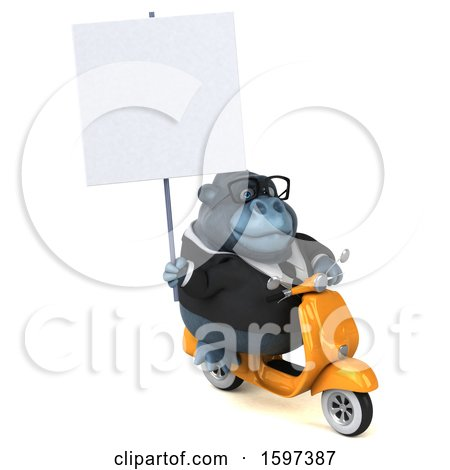 Clipart of a 3d Business Gorilla Riding a Scooter, on a White Background - Royalty Free Illustration by Julos