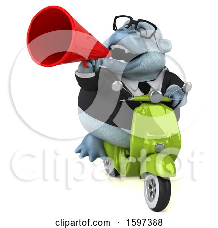 Clipart of a 3d White Business Monkey Yeti Riding a Scooter, on a White Background - Royalty Free Illustration by Julos