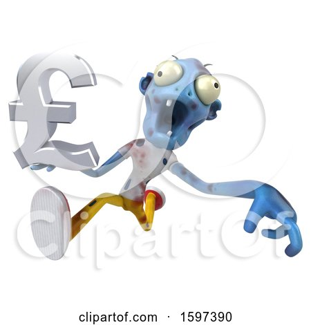 Clipart of a 3d Blue Zombie Holding a Pound Currency Symbol, on a White Background - Royalty Free Illustration by Julos