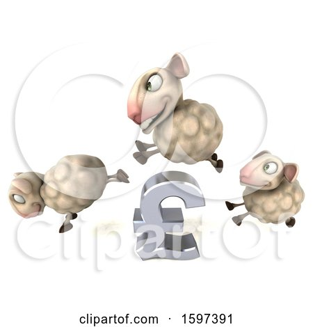 Clipart of a 3d Group of Sheep Jumping over a Pound Currency Symbol, on a White Background - Royalty Free Illustration by Julos