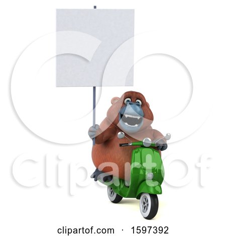 Clipart of a 3d Orangutan Riding a Scooter, on a White Background - Royalty Free Illustration by Julos