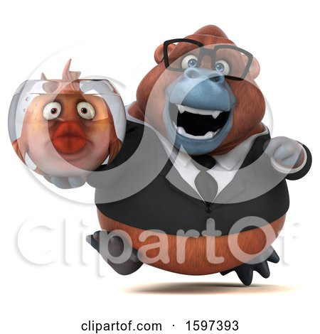 Clipart of a 3d Business Orangutan Holding a Fish Bowl, on a White Background - Royalty Free Illustration by Julos