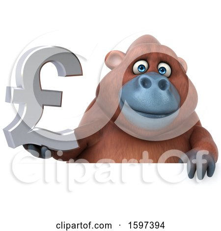 Clipart of a 3d Orangutan Holding a Pound Currency Symbol, on a White Background - Royalty Free Illustration by Julos