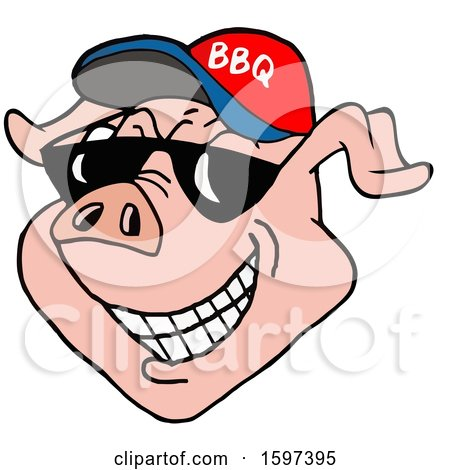 Clipart of a Pig Face Wearing a Bbq Hat and Shades - Royalty Free Vector Illustration by LaffToon