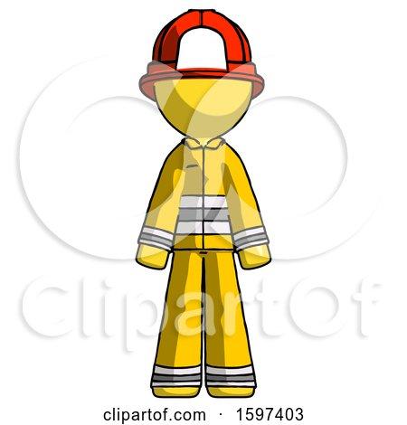 Yellow Firefighter Fireman Man Standing Facing Forward by Leo Blanchette