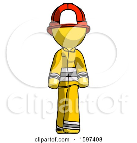Yellow Firefighter Fireman Man Walking Front View by Leo Blanchette