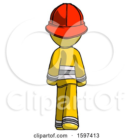 Yellow Firefighter Fireman Man Walking Away, Back View by Leo Blanchette