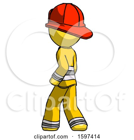 Yellow Firefighter Fireman Man Walking Away Direction Left View by Leo Blanchette