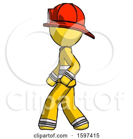 Yellow Firefighter Fireman Man Walking Left Side View by Leo Blanchette