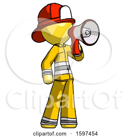 Yellow Firefighter Fireman Man Shouting into Megaphone Bullhorn Facing Right by Leo Blanchette