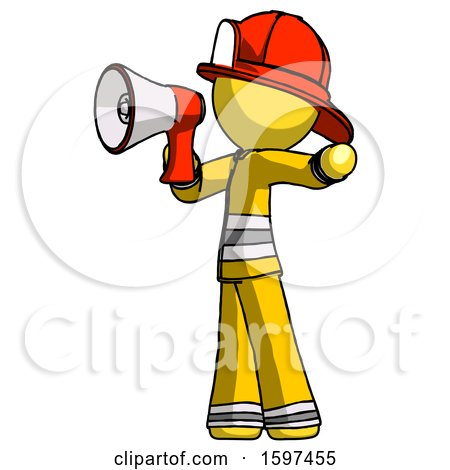 Yellow Firefighter Fireman Man Shouting into Megaphone Bullhorn Facing Left by Leo Blanchette