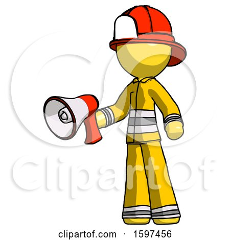 Yellow Firefighter Fireman Man Holding Megaphone Bullhorn Facing Right by Leo Blanchette