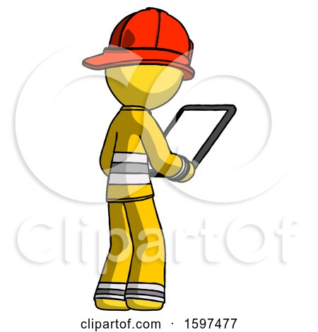 Yellow Firefighter Fireman Man Looking at Tablet Device Computer Facing Away by Leo Blanchette