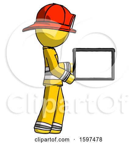 Yellow Firefighter Fireman Man Show Tablet Device Computer to Viewer, Blank Area by Leo Blanchette