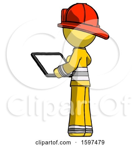 Yellow Firefighter Fireman Man Looking at Tablet Device Computer with Back to Viewer by Leo Blanchette