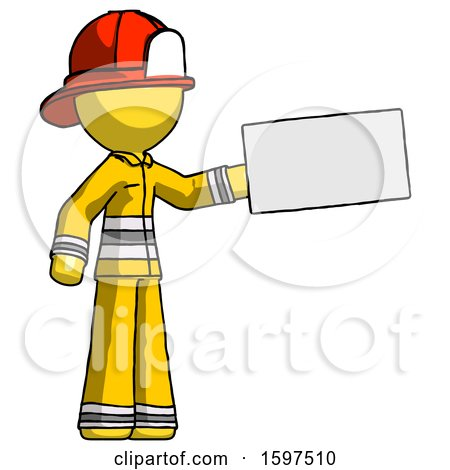 Yellow Firefighter Fireman Man Holding Large Envelope by Leo Blanchette