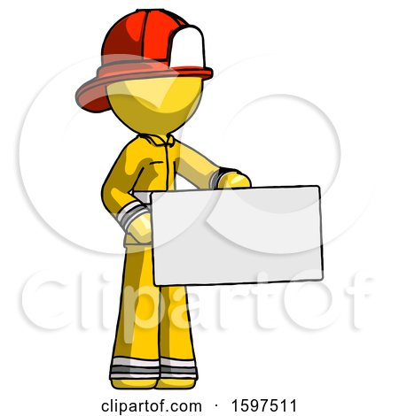 Yellow Firefighter Fireman Man Presenting Large Envelope by Leo Blanchette