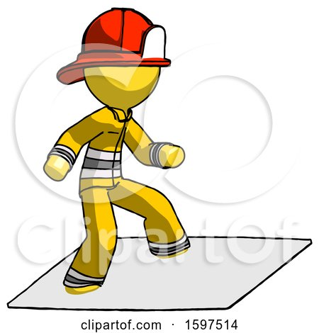 Yellow Firefighter Fireman Man on Postage Envelope Surfing by Leo Blanchette