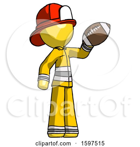 Yellow Firefighter Fireman Man Holding Football up by Leo Blanchette