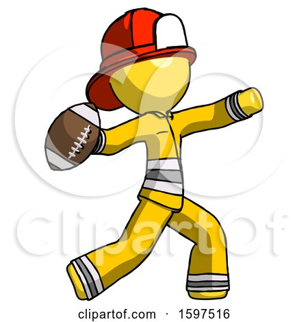 Yellow Firefighter Fireman Man Throwing Football by Leo Blanchette